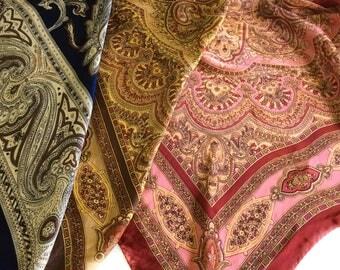 Navy Paisley Silk scarf, Silk Paisley bandana, Men pocket kerchief, Red paisley scarf, Birthday gift for boss, Neck tie scarf Neckerchief