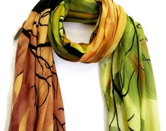 Tree Cashmere Scarf Green / Brown Spring Scarf / Summer Scarf / Autumn Scarf / Gift For Her / Womens Scarves / Fashion Accessories