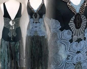 Boho Wedding dress in dark green and blue,bridal gown blue,ocean  blue wedding dress,alternative beach wedding,ocean wedding dress,rawrags