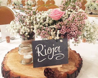 Hand lettered slate A6 wedding table name