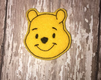 Set of 4 Pooh Felties Winnie the Pooh Bear Feltie Felt Embellishment Bow! Birthday Party Oversized Large Oversize Felties Planner Clip