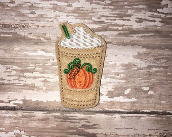 Set of 4 Pumpkin Spice Frappe Felties Coffee Cup To Go Frappuccino Cocoa Glitter Feltie Felt Embellishment Bow! Felties Planner Clip Fall