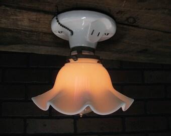 "Vintage Industrial Subway Tile  Flush Mount Light Fixture With Milk Glass Shade 5 3/4"" Drop"