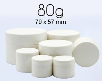 50 pcs (80g) Plastic Jar, Pot, Bottle with Lid & Disc Liner - Skincare Face Cream, Cosmetic, SPA Bath Packaging