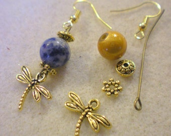 KIT Earrings * Dragonfly yellow Antique * gold plated hooks