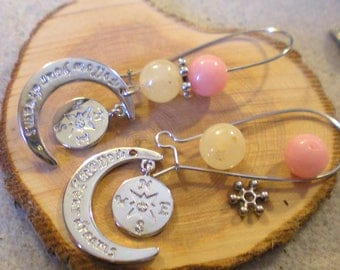 Kit was Gde BO * pink Moonstone Crescent * silver plated
