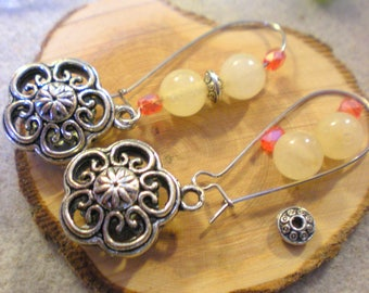 KIT was Gde BO * flower and beads orange and cream * silver plated