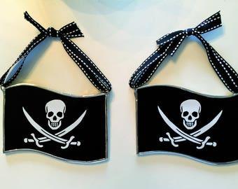 Handmade Stained Glass Pirate Flag (Jolly Roger / Jack Rackham) Suncatcher