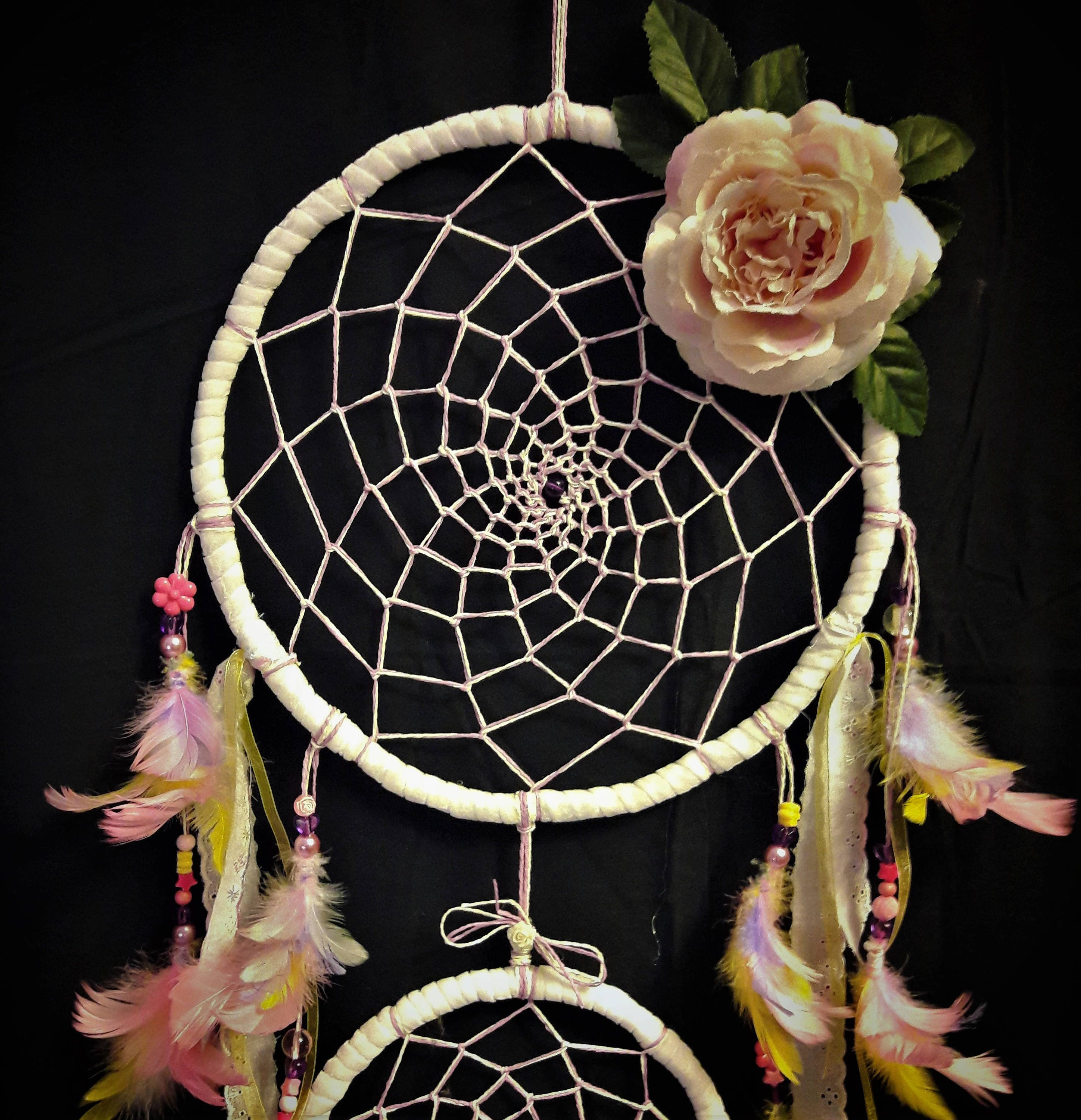 Large purple pink yellow and white dream catcher home decor large purple pink yellow and white dream catcher home decor flower and mightylinksfo
