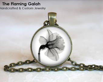 DAFFODIL X-RAY Pendant • Black and White Xray Flower • X-Ray Flower • Beautiful Daffodil • Gift Under 20 • Made in Australia (P1436)