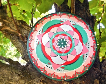 "Abstract circle painting; red and silver mandala 6"" hand painted for yoga room; gifts for expectant mothers; pink lotus flower."