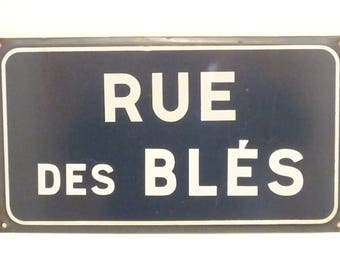 Street of the Wheat  Vintage French Enamel Porcelain Street Sign 1900 1920  Gift  Présent for baker ? Kitchen decor