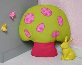 Pillow shape mushroom fuchsia and green