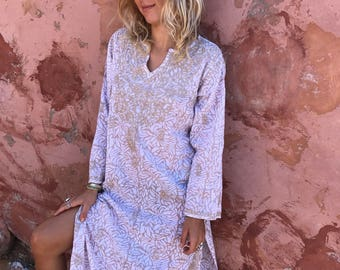 Ibiza maxi tunic in muslin cotton with hand embroidery