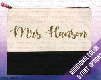 Teacher / Bride Name Two Tone Makeup/Travel Cosmetic Bag with Black Canvas Trim -  Black, Silver or Gold Glitter