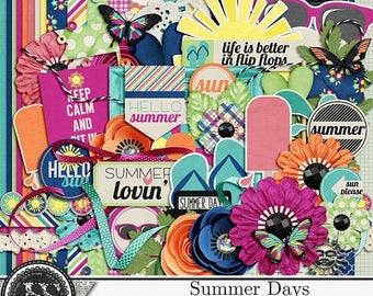 On Sale 50% Summer Days, Beach, Swim, Digital Scrapbooking Page Kit