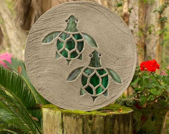 "Baby Sea Turtles Hatchlings Stained Glass Stepping Stone 18"" Diameter Perfect for Garden Patio or a Path to Your Back Yard Fish Pond #813"