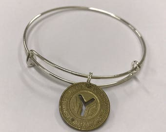 New York City Subway Token expandable style wire bangle bracelet