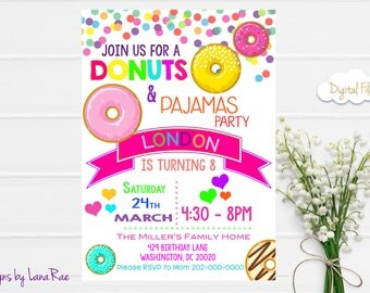 Donuts and Pajamas Birthday Invitation , Donuts and Pajamas , Sleepover Birthday , Donuts birthday party,  Digital Invitation