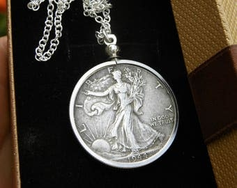 1944 authentic circulated old  silver walking liberty half dollar coin necklace pendant 16 or 18 or 20 or 24 or 30 sterling silver chain