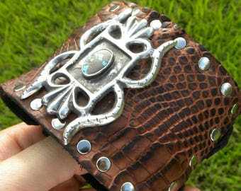 Bracelet genuine Alligator and Buffalo Bison leather adjustable 7 to 8 size  shaman  style ketoh sterling silver for rock stars western