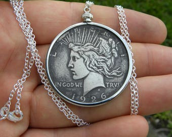 1926 authentic vintage silver US  Peace dollar necklace pendant sterling silver chain 16 or 18 or 20 or 22 or 24 or 30 inch