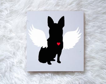 Hand Painted Chihuahua Angel Wing Silhouette, on Wood, Remembrance Sign, Dog Memorial, Loss of Dog, Chihuahua Silhouette, Chihuahua Pet Loss