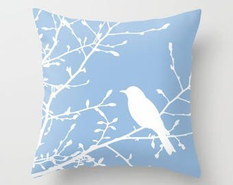 Bird on branch pillow, bird throw pillow, blue throw pillow, bird decor, modern bird pillow, blue decor, blue bird pillow, aldari home