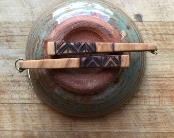 Short Chopstick Earrings: Italian Olive Wood