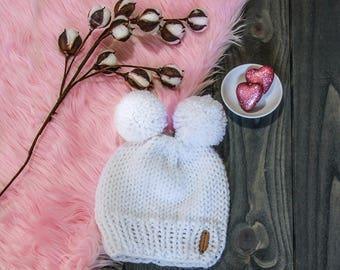 Knit Beanie with double pom pom - double pom beanie - chunky yarn - toddler hat - knit hat - beanie - knitted hat - pom pom hat