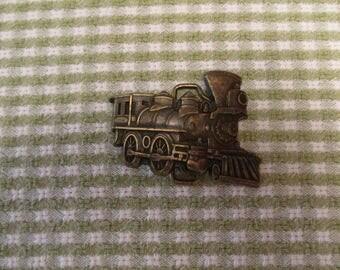 Burnished Gold Tone Train Locomotive Belt Buckle Retro Accessory