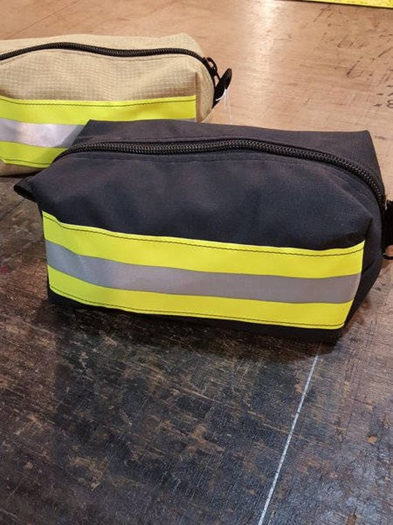 Upcycled Toiletry/ Makeup Bag. Bunker gear. Firefighter.