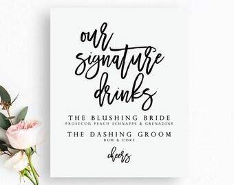 Printable Signature Drinks Sign. Signature Drinks Printable. Signature Drinks Wedding Sign. Wedding Bar Sign. Wedding Bar Printable.