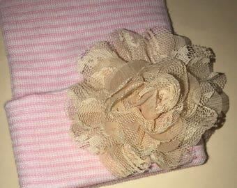 Newborn Hospital Hat w/ Beige Flower Hospital Beanie. aDOrABle! Baby's 1st Keepsake! Coming Home Hat