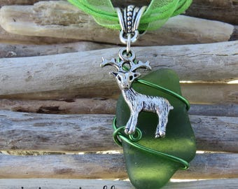 Green frosted glass and deer by JosieCoccinelle charm pendant necklace