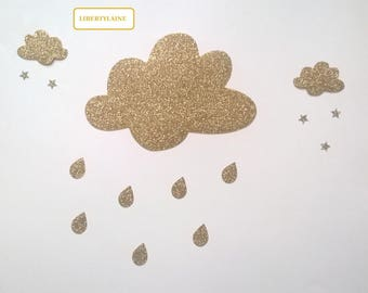 All applied fusing rainy clouds in flex clear glittery gold