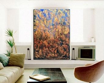 ON SALE original metallic large painting gold bronze modern abstract art deep texture wall art design home decor canvas one of a kind artwor
