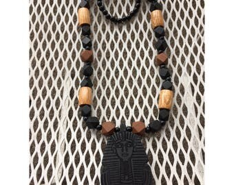 Black Pharaoh on Mix of Black and Brown Beads Necklace