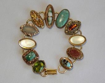 Victorian Edwardian Era Cufflink Bracelet with Gem Stones