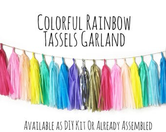 Colorful Bright Rainbow Tassel Garland with Jute Twine, Unicorn Colors Backdrop, Photo Prop, Party Decoration, Wall Decor, Birthday Decor