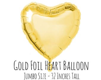 "32"" Metallic Gold Foil Mylar Heart Balloon, Heart Shaped Balloon, Engagement Party, Bridal Shower, Anniversary, Wedding Decor, Reception"