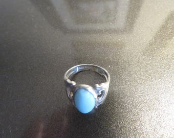 Vintage Genuine Turquoise 925 Sterling Silver Ring Size 6, Weight 3.5 Grams