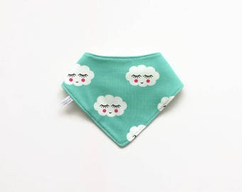 Mint green baby bandana bib with sleepy clouds. Baby or toddler bibdana. Soft cotton and waffle cotton. Drool bib.