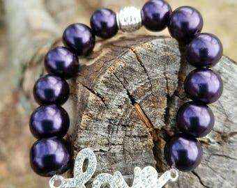 Purple Love Beaded Bracelet