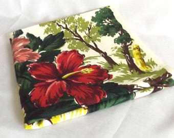 Vintgae Mid Century Barkcloth w Tropical Hibiscus and Birch Trees - Greens, Pinks, Red, White Background - Retro Upholstery Fabric - Pillows