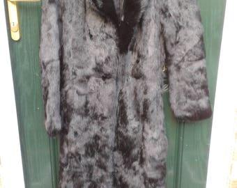 Stunning French Black Rabbit Coat Size 10