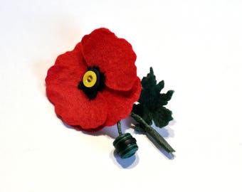 Poppy Pin / Felt Poppy / Poppy corsage / Poppy Buttonhole / everlasting poppy /poppy brooch
