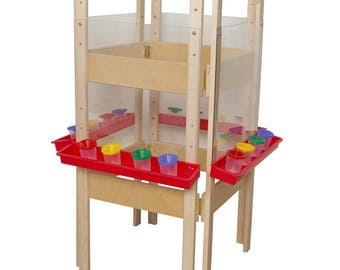 Classroom Easel, 4-Sided Adjustable Kid's Art Easel with Acrylic Art Surface and Red Trays