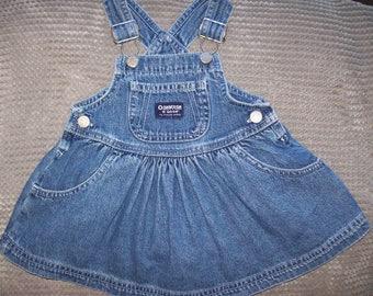 Vintage OshKosh B'Gosh Blue Denim JEAN Buckled Jumper Shamrock rivet Buttons 100% Cotton Vestbak  Baby Girls 12M