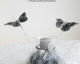 Candle holder decor black and silver with butterflies on aluminum wire